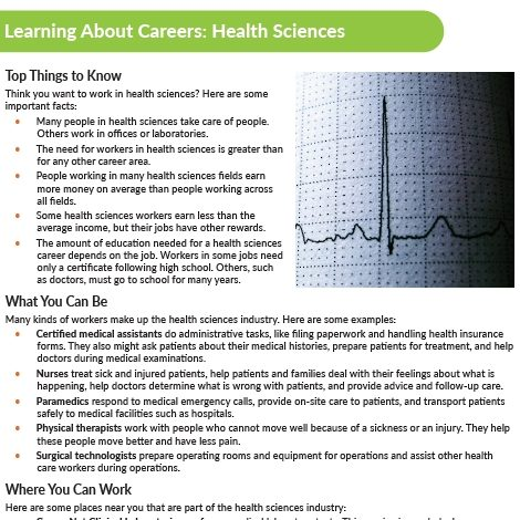 Learning About Health Sciences Careers